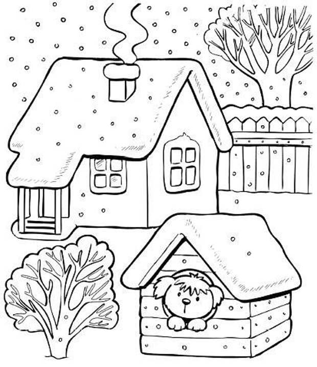 Зимние раскраски