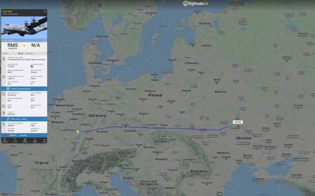 Что-то везут: в Киеве приземлился военно-транспортный самолет США
