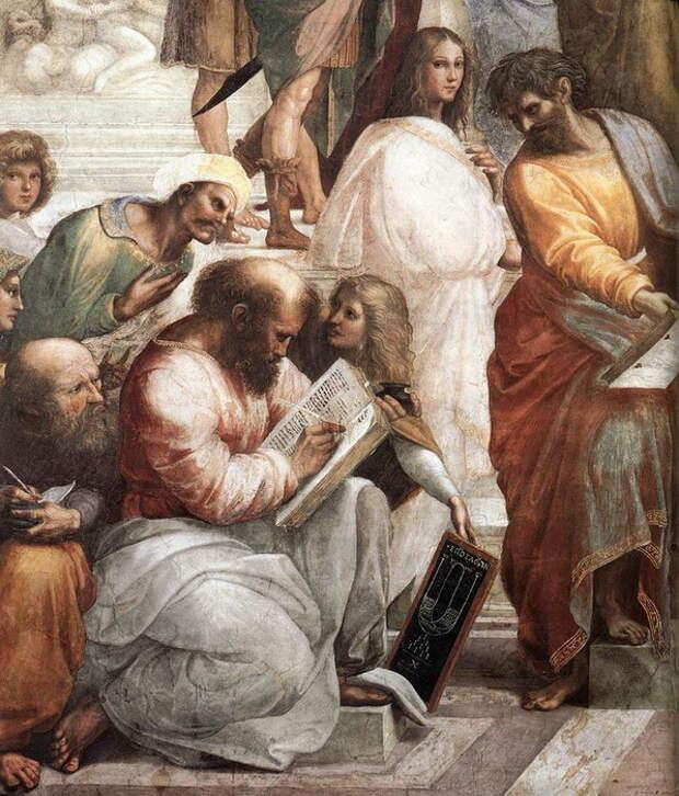 Рафаэль «Афинская школа» (фрагмент, на котором изображен Пифагор)