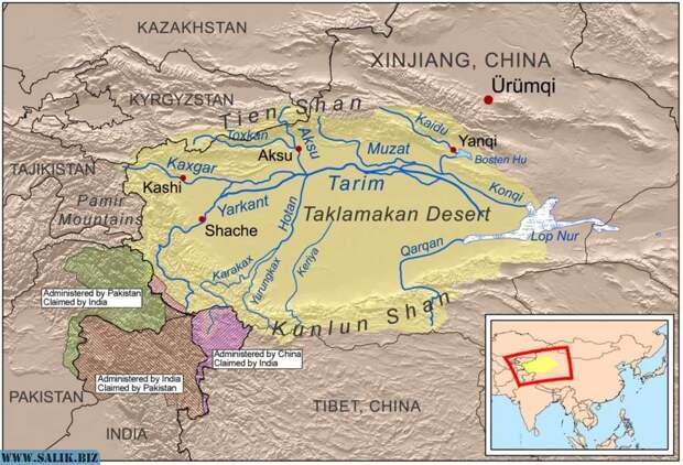 Пустыня Такла-Макан и бассейн реки Тарим.