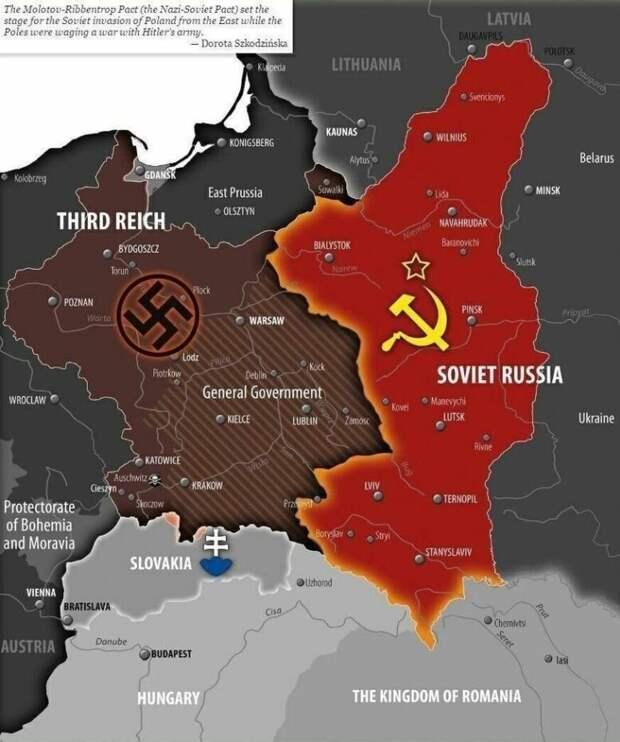"""В первую очередь всем несогласным надо усвоить, что все территории, которые отошли к СССР согласно """"Пакту Риббентропа-Молотова"""", сегодня в составе России не имеются. Польша за них должна драться с Украиной и Литвой. Также у Украины будут проблемы с Румынией и Венгрией"""