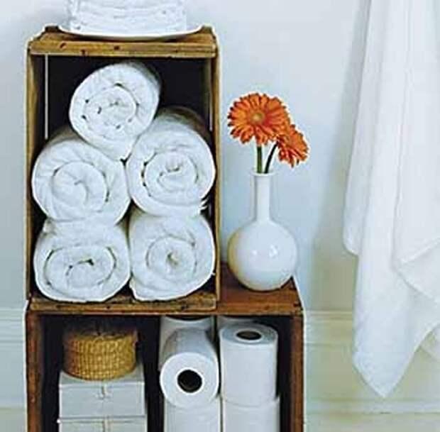 простые деревянные полки для полотенец