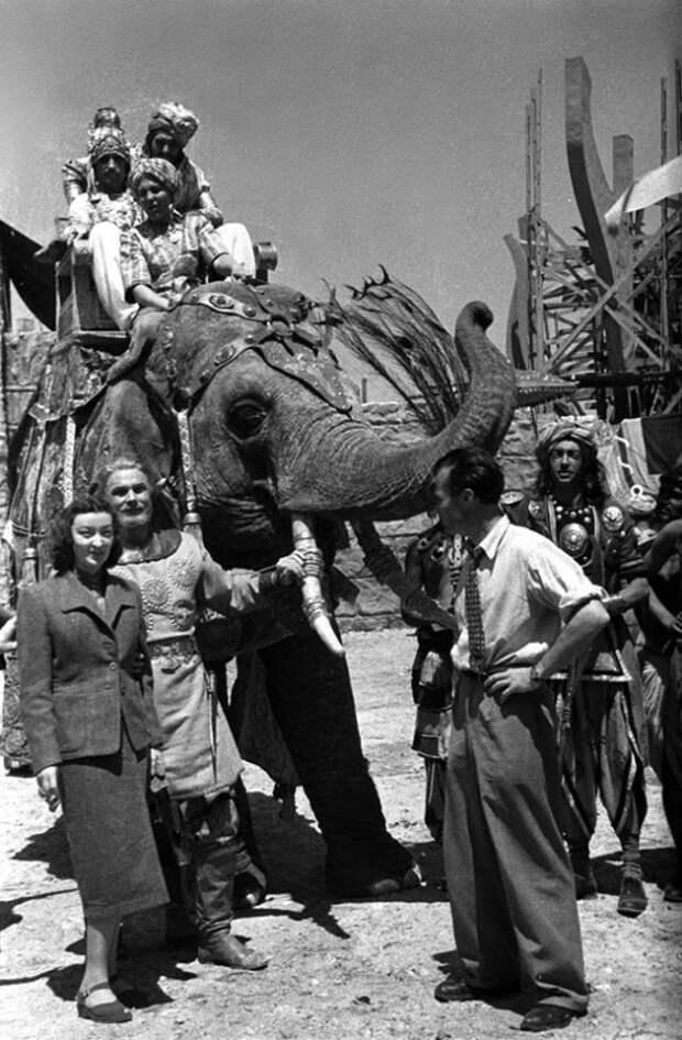 Лидия Вертинская и Сергей Столяров на съемках фильма Садко, 1952 год