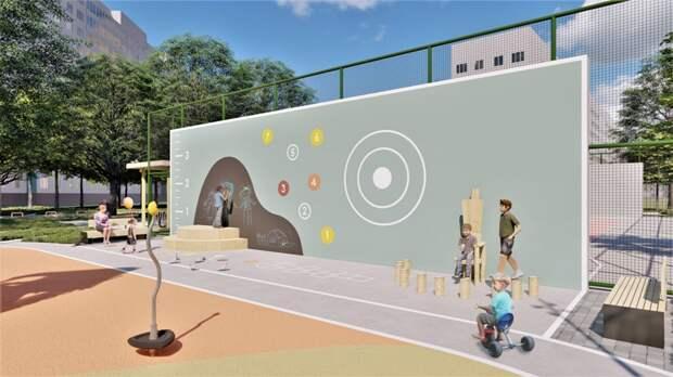 """В обновленном дворе появится целая стена для рисования мелками. Фото: Пресс-служба проекта """"Мой район"""""""