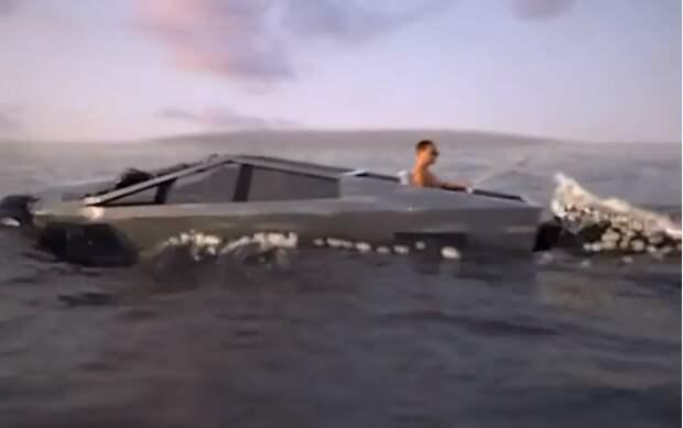 Tesla Cybertruck in ocean