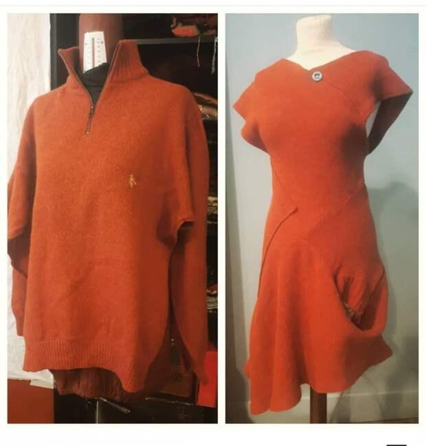 Дизайнерское платье из мужского свитера