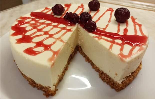 Чизкейк творожный без выпечки/нежный торт