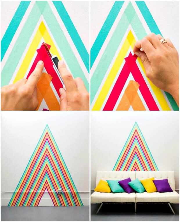 Декор стены с помощью цветного скотча.