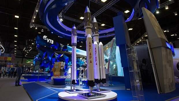 Макеты ракет Ангара на стенде государственной корпорации Роскосмос. Архивное фото