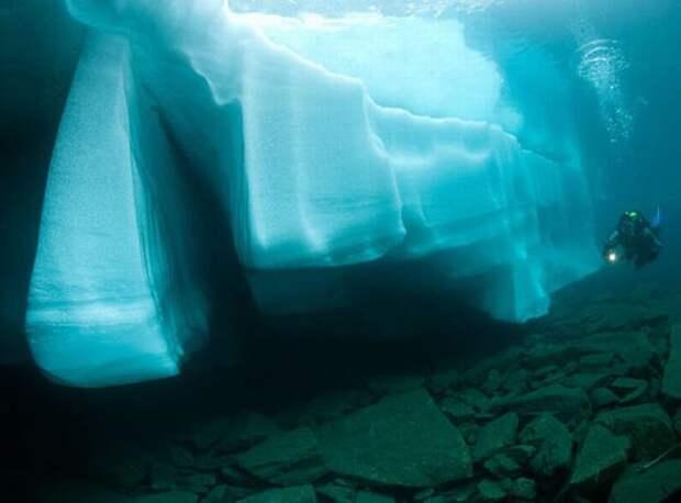 Дайвинг под ледяными глыбами