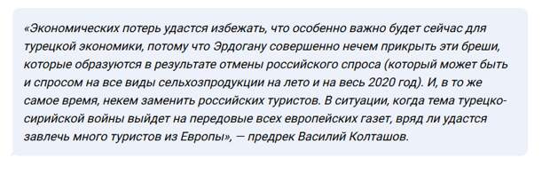 Эксперты о том, что будет если «разорвать» экономические отношения России и Турции
