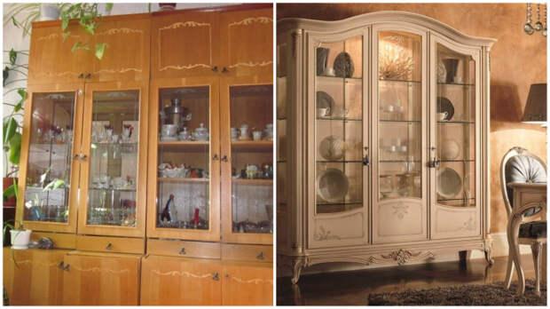 Современный шкаф для посуды всё-таки отличается от советской мебели…
