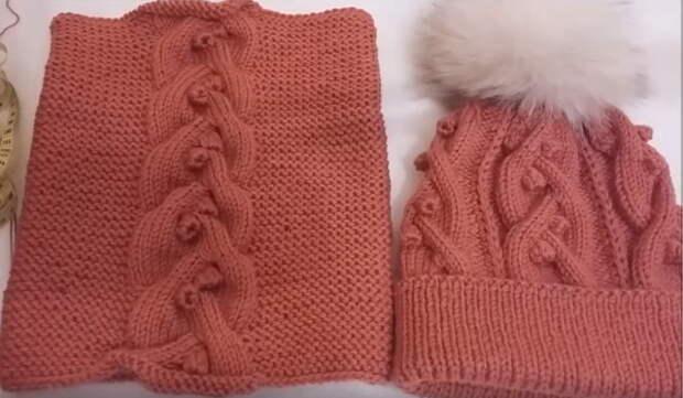 Пуловер + шапка и снуд спицами