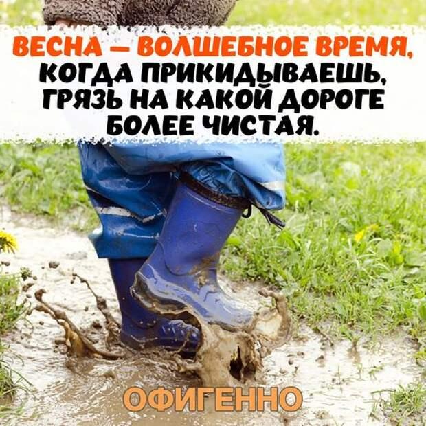 Возможно, это изображение (обувь и текст «весна - волшебное время, когда прикидываешь грязь на какои дороге более чистая. офигенно»)