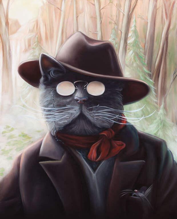 Кот по кличке Сеймур в ляпе и пиджаке, и с мышкой в кармане.