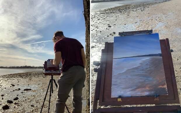Художник дарит радость любителям искусства, оставляя на улице свои картины