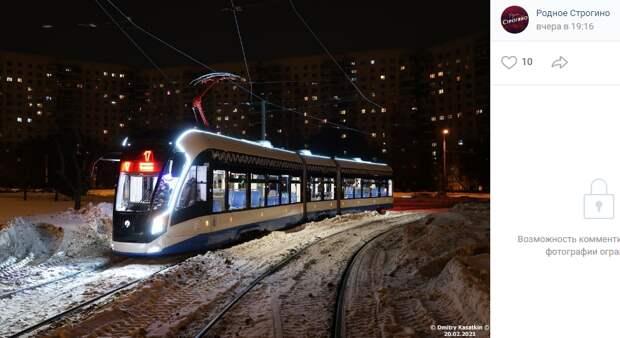Новые трамваи «Витязь» начали по ночам тестировать в Строгине