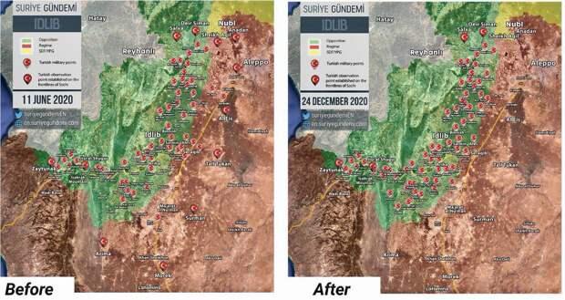 Турки завершили эвакуацию опорных пунктов в Идлибе