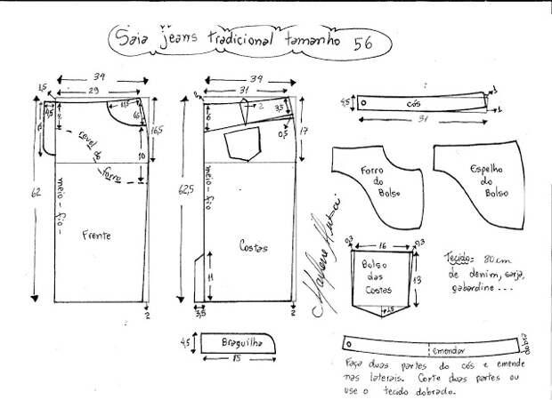 Выкройка прямой юбки из джинсовой ткани