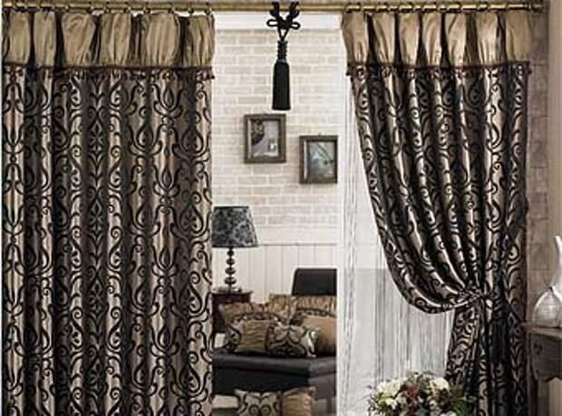 темные межкомнатные шторы с буфами