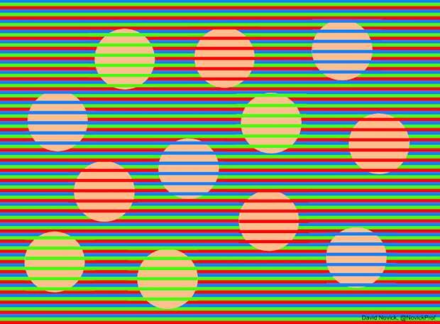 Оптическая иллюзия: все шары на этом рисунке одного цвета