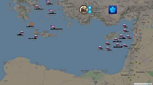 Показаны группировки флотов России и НАТО в Восточном Средиземноморье