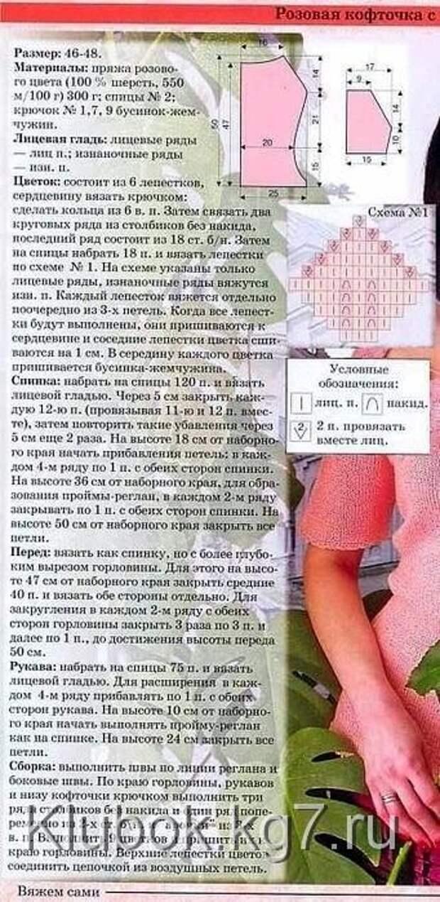 РОЗОВАЯ КОФТА С ЦВЕТАМИ