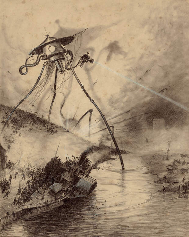 Марсианская газовая пушка (бельгийское издание, 1906) Герберт Уэллс, война миров, иллюстрации, история