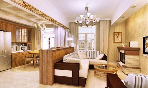 кухня совмещенная с гостиной с камином