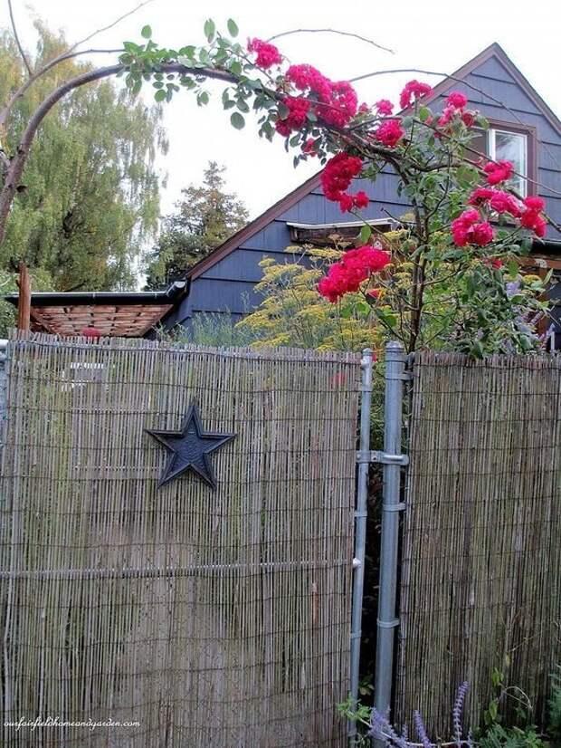Бамбуковые палочки Фабрика идей, дача, забор, сетка Рабица, украшение