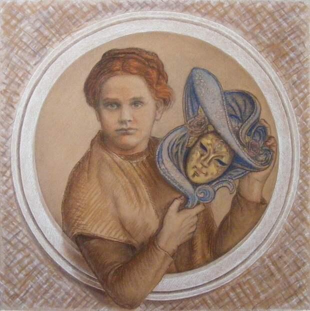 Дмитриева и маска Черубины. фото из открытого источника