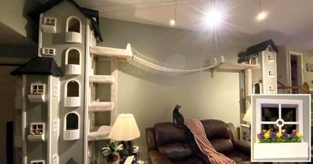 Мужчина построил две невероятные башни для своего кота и рассказал всем, как он это сделал!