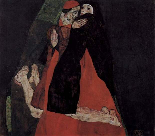 """Эгон Шиле. """"Кардинал и монашка, или Ласка"""", 1912"""
