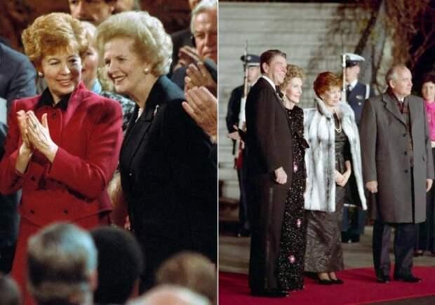 Слева – Раиса Горбачева и Маргарет Тэтчер, 1989. Справа – Чета Горбачевых во время визита в США, 1987   Фото: materiality.info