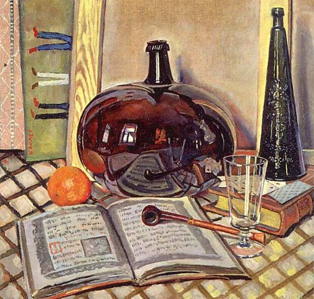 Лев Прыгунов. Натюрморт с красной бутылкой.