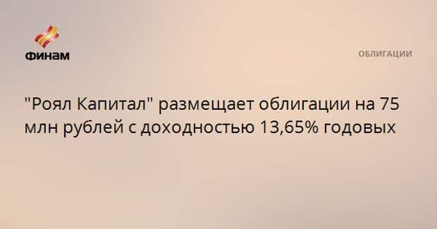 """""""Роял Капитал"""" размещает облигации на 75 млн рублей с доходностью 13,65% годовых"""