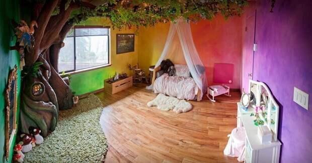 Отец больше года мастерил для дочки сказочную комнату с чудо-деревом дети, детская, детская комната, дизайн, идеи, ремонт, своими руками, фото