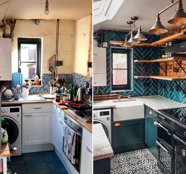 До и после: крохотная кухня в индустриальном стиле. Стильно или аляповато-вычурно?
