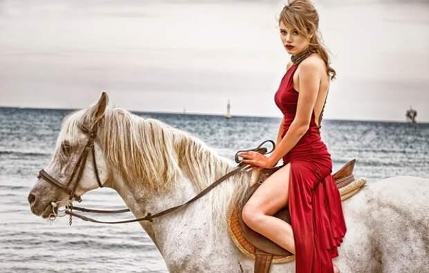 Обои девушка, конь, платье, в красном картинки на рабочий стол ...