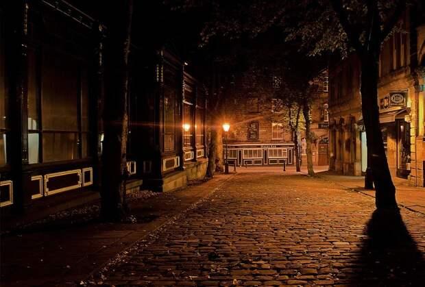 Аллея, Улица, Ночь, Вечер, Город, Городских