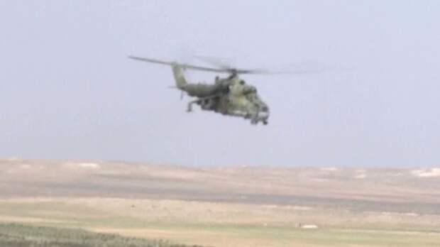 Ракетный обстрел боевиков в Сирии с вертолетов Ми-25 попал на видео