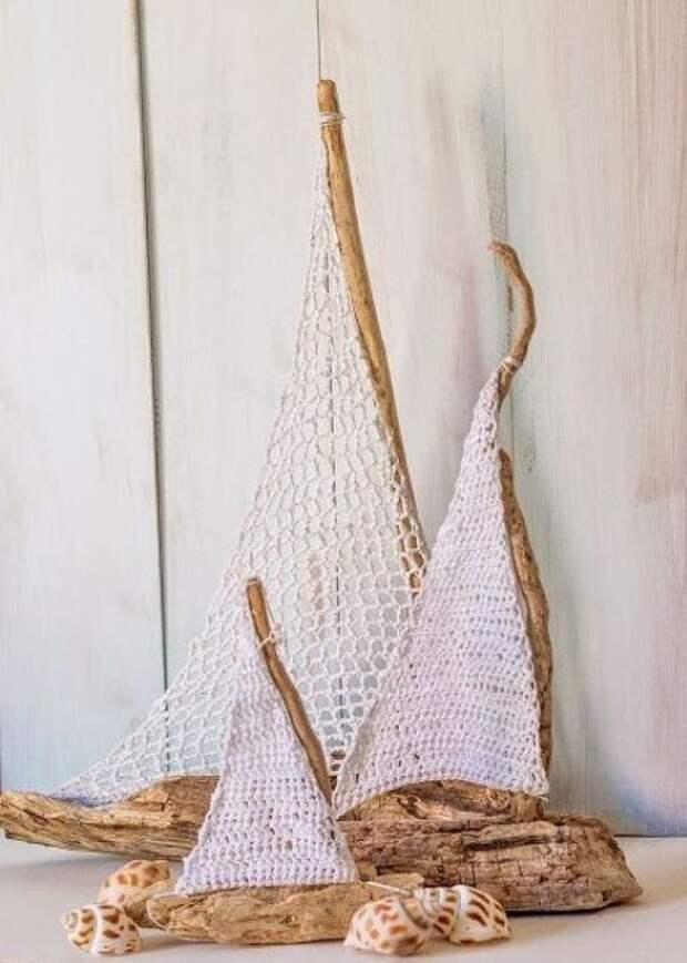 Кораблики из палочек и веточек