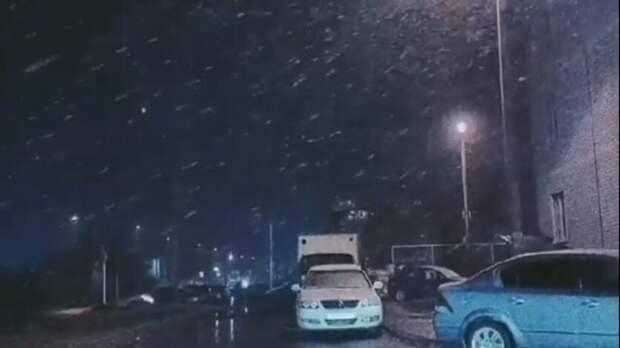 Первый снег выпал ночью в Ставрополе