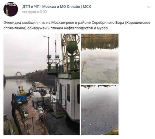 Следы нефтепродуктов в реке на территории Серебряного Бора не обнаружены — дирекция