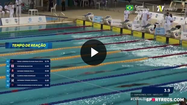 Giovanna Diamante vence, mas não consegue o índice olímpico nos 100m Borboleta Feminino - Pré-Olímpico de Natação (19/04/2021)