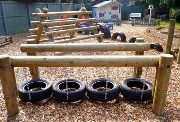 Игровая площадка для дачи, сделанная своими руками из подручных средств.