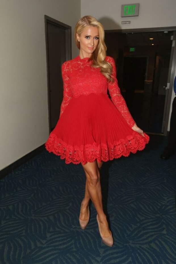 paris hilton red dress