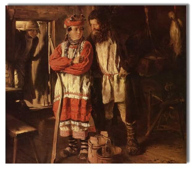 Картина В. Е. Маковского «Свёкор», 1888 год