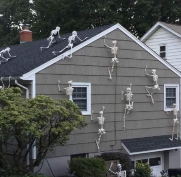Американцы украшают дома к Хэллоуину. Получается злободневно, смешно и жутковато