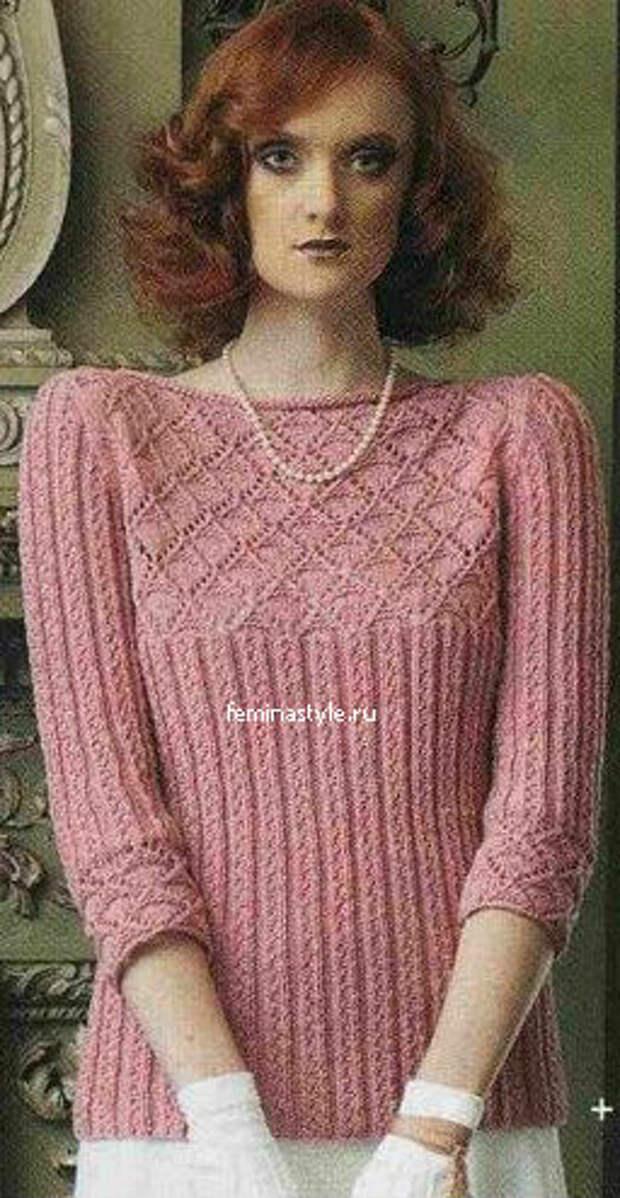 Оригинальный пуловер цвета граната